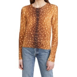 Naadam Animal Print Crew Neck Cashmere Sweater