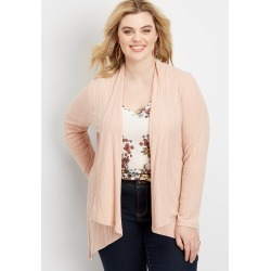 Maurices Plus Size Womens Lattice Back Open Front Cardigan Pink