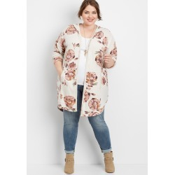 Maurices Plus Size Womens Floral Hooded Duster Cardigan Beige