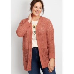 Maurices Plus Size Womens Matte Chenille Cardigan Pink