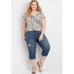 Maurices Plus Size Jeans Womens Dark Wash Destructed Jeans With Cuffed Hem Blue
