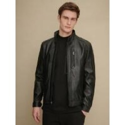 Convertible Collar Zip Front Leather Jacket