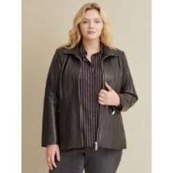 Plus Size Convertible Collar Leather Jacket