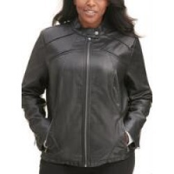 Plus Size Faux-Leather Scuba Jacket w/ Chest Pockets