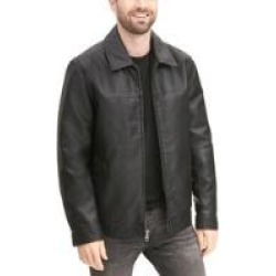 Big & Tall Signature Shirt Collar Faux-Leather Jacket