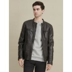 Rob Quilted Shoulder Leather Jacket