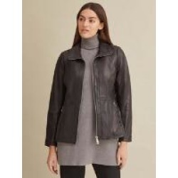 Convertible Collar Leather Jacket