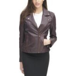 Vintage Asymmetrical Cycle Leather Jacket w/ Arm and Side Detail
