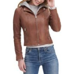Anna Hooded Leather Jacket