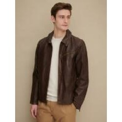 Vintage Shirt Collar Leather Jacket w/ Zippered Cuffs