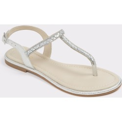 ALDO Sheeny - Women's Flat Sandals - Silver, Size 6 found on Bargain Bro India from Aldo Shoes US for $24.98