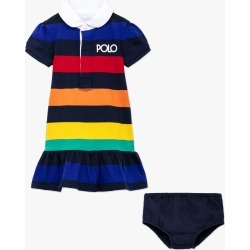 Ralph Lauren   Baby Stripe Polo Logo Rugby Dress & Bloomers Set - Multi found on Bargain Bro Philippines from basefashion.co.uk for $104.12