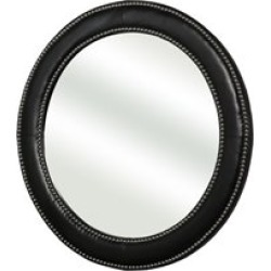 Abbyson Living Barry Bonded Leather Round Wall Mirror in Black - HS-MIR-400-BLK