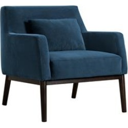Oliver Blue Velvet Modern Accent Chair with Wood Legs found on Bargain Bro Philippines from Cymax for $991.99