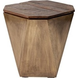 Merana ESAGONO II HEXAGONAL BRASS AND NATURAL WOOD HINGED-TOP END/SIDE TABLE found on Bargain Bro Philippines from Cymax for $339.99