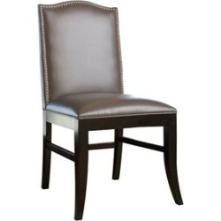 Abbyson Living Royal Leather Nailhead trim Dining Chair in Gray - BR-2581201L-DC-GRY