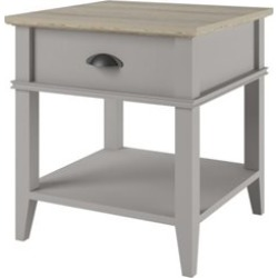 Ameriwood Home 1 Drawer End Table in Sharkey Gray and Laguna Oak - 3598319PCOM
