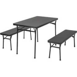 Ameriwood COSCO Tailgate 3 Piece Folding Table Set with Benches in  Black - 37331BLK1E