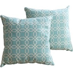 Abbyson Living Cotton Linen Square Pillow in Teal Pattern (Set of 2) - BR-P-18-SP14
