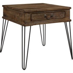 Lexicon Shaffner Wood 1 Drawer End table in Rustic Oak and Black found on Bargain Bro Philippines from Cymax for $148.99