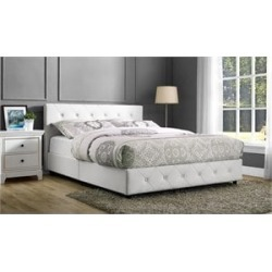 Ameriwood DHP Dakota Upholstered Faux Leather Queen Bed in White - 4027149