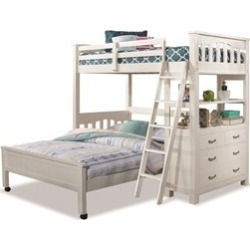 Highlands Twin Loft Bed with Full Lower Bed and Hanging Nightstand