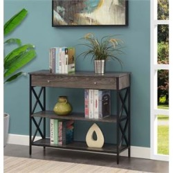 Tucson One-Drawer Console Table in Gray Wood with Black Metal Frame found on Bargain Bro Philippines from Homesquare for $141.99