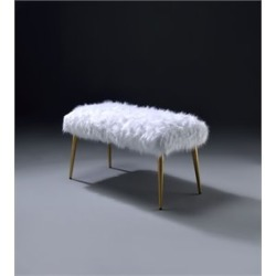 Acme Bagley II Bench in White Faux Fur and Gold found on Bargain Bro Philippines from Cymax for $215.99