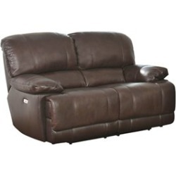Abbyson Living Aspen Leather Power Reclining Loveseat in Brown - SK-1947-2