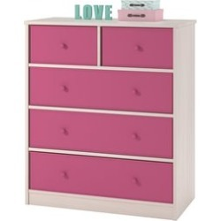 Ameriwood Home Applegate Storage Chest with 5 Pink Fabric Bins - 5885218FCOM