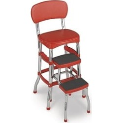 Ameriwood Cosco Red Retro Counter Chair with Pull Out Step Stool - 11120RED1E