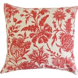 "The Pillow Collection 20"" Square Bionda Floral Throw Pillow - P20-D-ANAYA-RED-L55-R45"