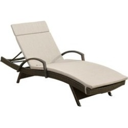 Noble House Salem Outdoor Wicker Adjustable Lounge with Arms w/Charcoal Cushion found on Bargain Bro Philippines from Cymax for $474.99