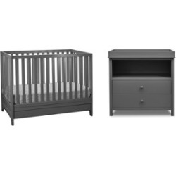 Afg Baby Furniture Athena Mila 3 in 1 Convertible Crib with Changing Table in Gray - 618G+007G