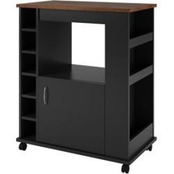 Ameriwood Home Wood Kitchen Beverage Cart in Black Stipple - 5276056PCOM