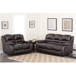 Abbyson Living Levari Reclining Leather Sofa And Loveseat - CH-8801-BRN-3/2