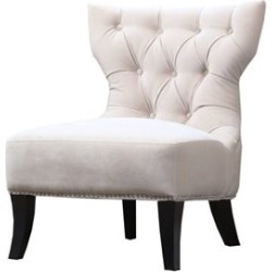 Abbyson Living Napalee Armless Microfiber Tufted Suede Chair in Cream - HS-172-CH-CRM