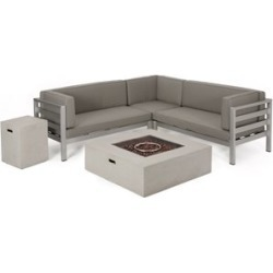 Noble House Bel Aire Outdoor 5 Seater V-Shaped Sectional Sofa Set with Fire Pit found on Bargain Bro Philippines from Cymax for $2488.99