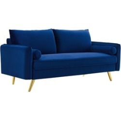Modway Revive Contemporary Performance Velvet Upholstered Sofa in Navy found on Bargain Bro Philippines from Homesquare for $501.25