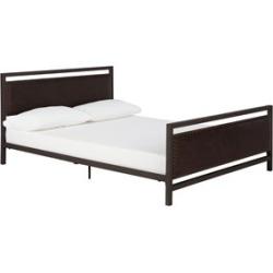 Ameriwood DHP Vintage Queen Upholstered Metal Bed in Brown - 4098239