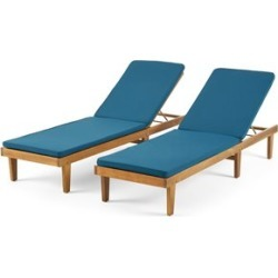 Noble House Nadine Outdoor Wood Lounge Cushion (Set of 2) Teak/Blue found on Bargain Bro Philippines from Cymax for $621.99