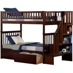 Atlantic Woodland Stair Bunk Bed with 2 Urban Lifestyle Bed Drawers in Walnut-Twin Over Full - AB56744