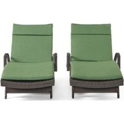 Noble House Salem Wicker Adjustable Lounge with Dark Green Cushion (Set of 2) found on Bargain Bro Philippines from Cymax for $764.99