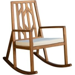 Noble House Nuna Outdoor Wood Rocking Chair with Cream Cushion found on Bargain Bro Philippines from Cymax for $194.99