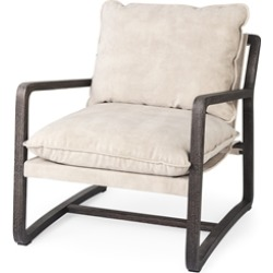 Brayden 28.3L x 34.1W x 35H Dark Brown Wood W/ Cream Fabric Seat Accent Chair found on Bargain Bro Philippines from Homesquare for $749.99