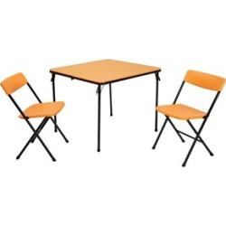 Ameriwood COSCO Tailgate 3 Piece Folding Table Set with Chairs in Orange and Black - 37334ONB1E