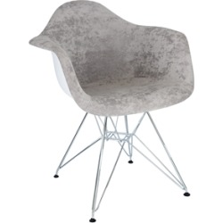 LeisureMod Willow Velvet Eiffel Metal Base Accent Armchair in Cloudy Gray found on Bargain Bro Philippines from Homesquare for $176.99
