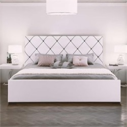 Ameriwood DHP Hollywood Premium Faux Leather Upholstered King Bed in White - 4012007