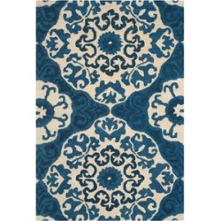 Safavieh Roslyn 5' X 8' Hand Hooked Wool Pile Rug in Blue and Ivory found on Bargain Bro Philippines from Cymax for $205.99