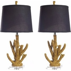 Abbyson Living Table Lamps in Gold Coral (Set of 2) - SP-33176-2PCK-GLD